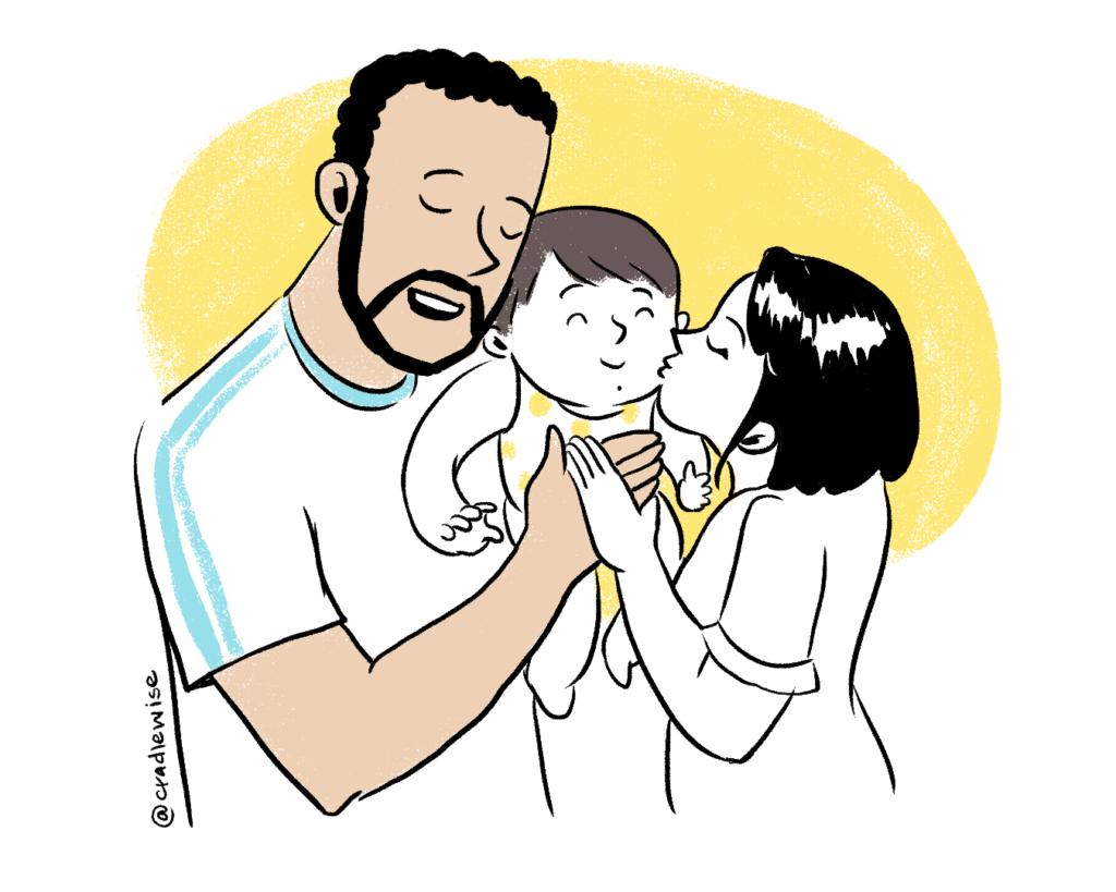 Mom and dad holding baby improves emotional bonding