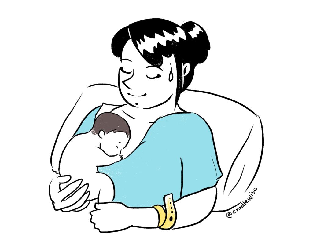 Newborn skin to skin contact immediately after birth.