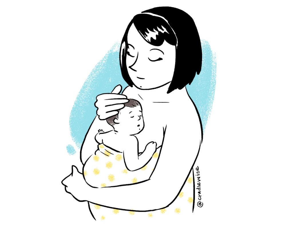 Mom Kangaroo care baby